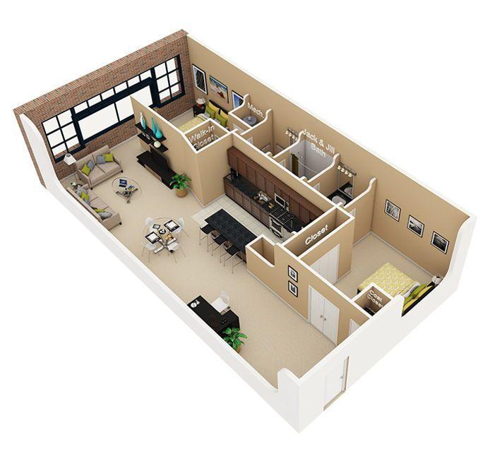 Lahan Memanjang Tipe 45 Denah Rumah 2 Kamar Tidur Denah Rumah 3d Tata Letak Rumah
