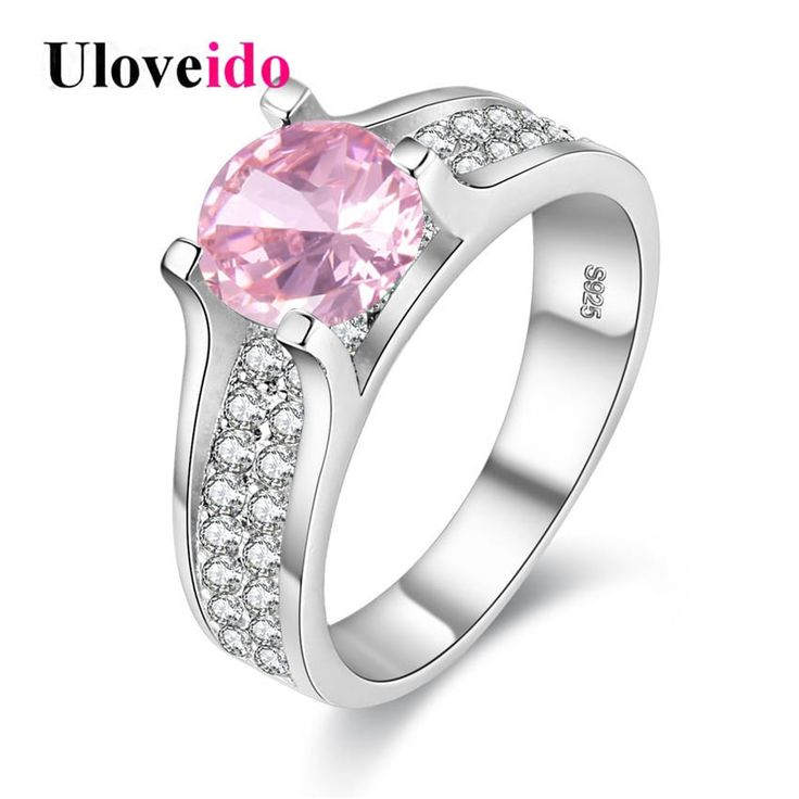 Pink Blue Yellow Lady's Zircon Silver Pave Ring Settings //Price: $10.95 & FREE Shipping //     #me