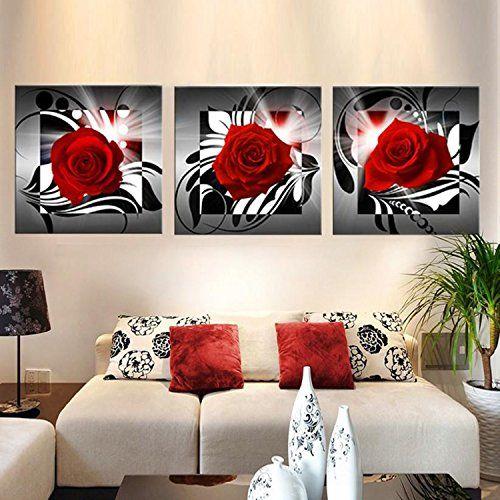 raybre art pcs impresin sobre lienzo cuadro modernos rosa roja flores pintura abstractos para arte