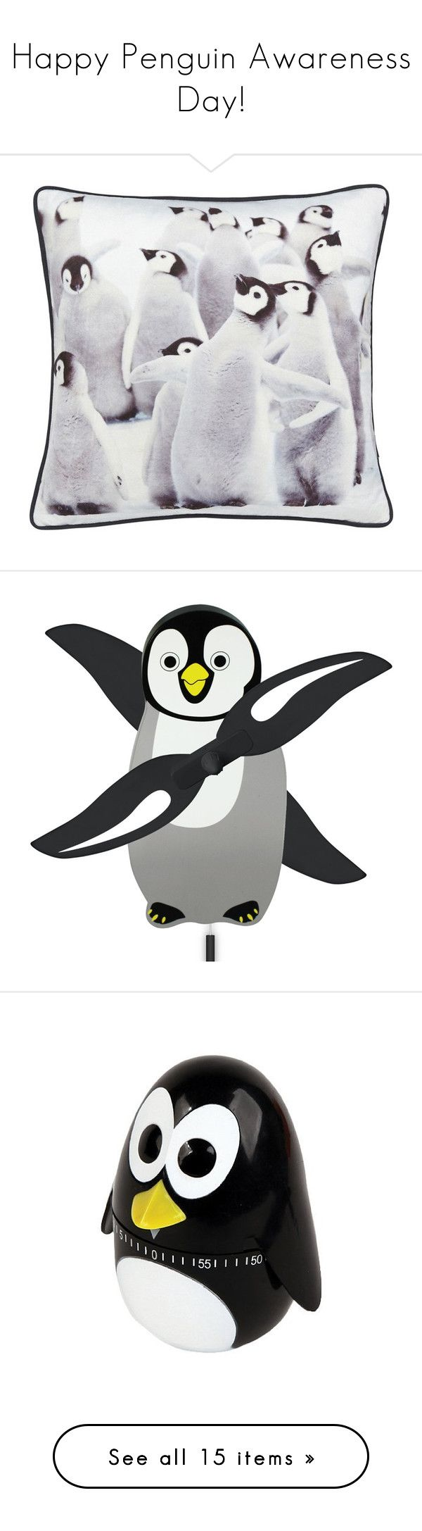 """""""Happy Penguin Awareness Day!"""" by polyvore-editorial ❤ liked on Polyvore featuring penguinawarenessday, home, home decor, throw pillows, kitchen & dining, kitchen gadgets & tools, kikkerland, drinkware, penguin mug and stackable coffee cups"""