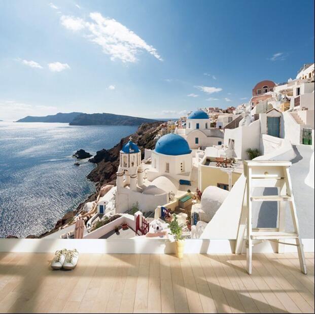 D fresco Hotel themed romantic Mediterranean wallpaper bedroom living room TV backdrop wallpaper Aegean Sea mural #Affiliate
