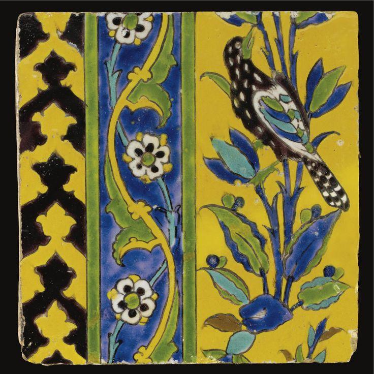A SAFAVID CUERDA SECA TILE, PERSIA, 17TH CENTURY