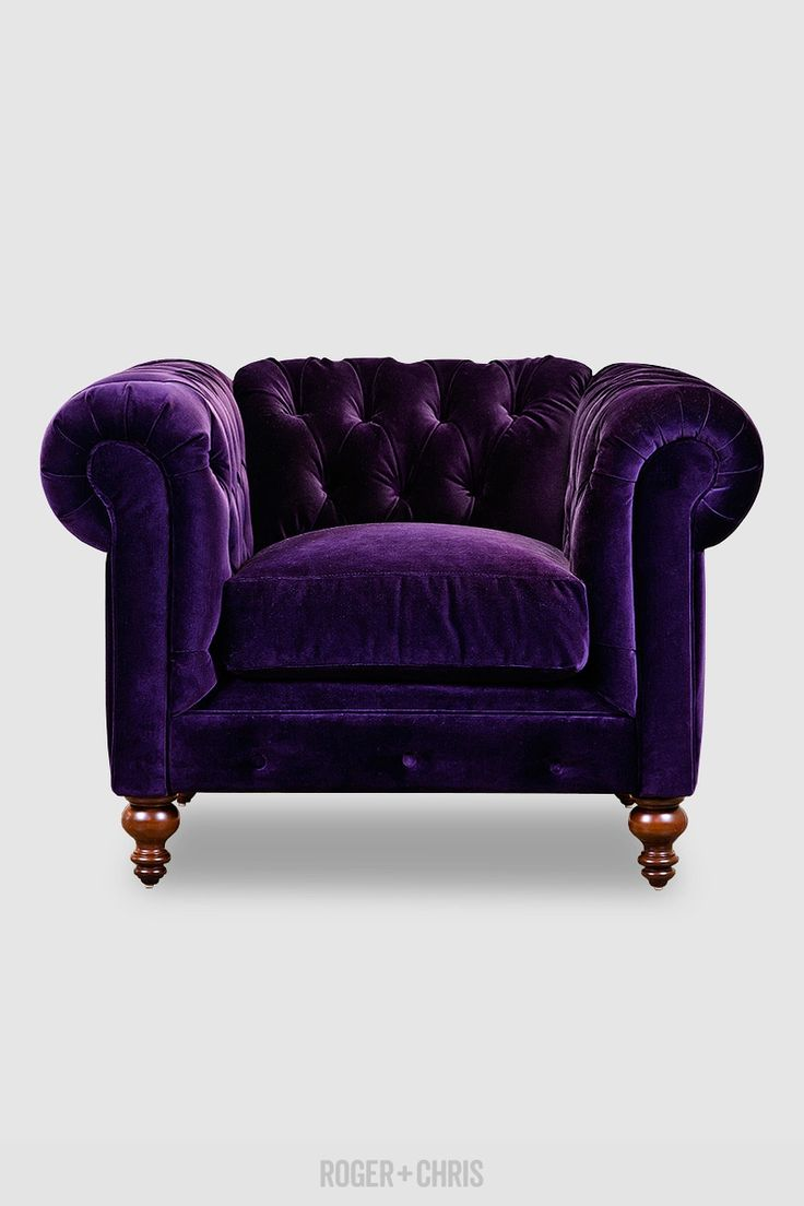Pin baroque bed purple velvet fabric with rhinestones and black - Purple Velvet Chesterfield Armchair With Turned Walnut Legs