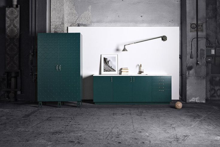 Superfront create beautiful doors for otherwise ordinary Ikea furniture. The inspiration for their recent collection, Big Fish in Bottle green, draws from nature's patterns and distinctive fish scales.