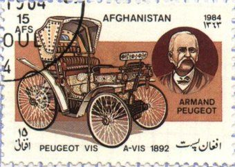 Peugeot  A-VIS ,1892 by Armand Peugeot . Afghanistan Post stamp 1984