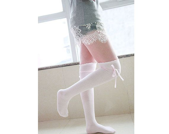 100% Cotton Socks Cute Socks Womens Pink Thigh High Socks With Self Tie Ruffle Socks Cotton Thigh Highs Personality Knee Socks Gift 1108