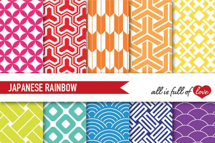 Rainbow Japanese Pattern Sheets Multicolor Digital Paper Pack By All is full of…
