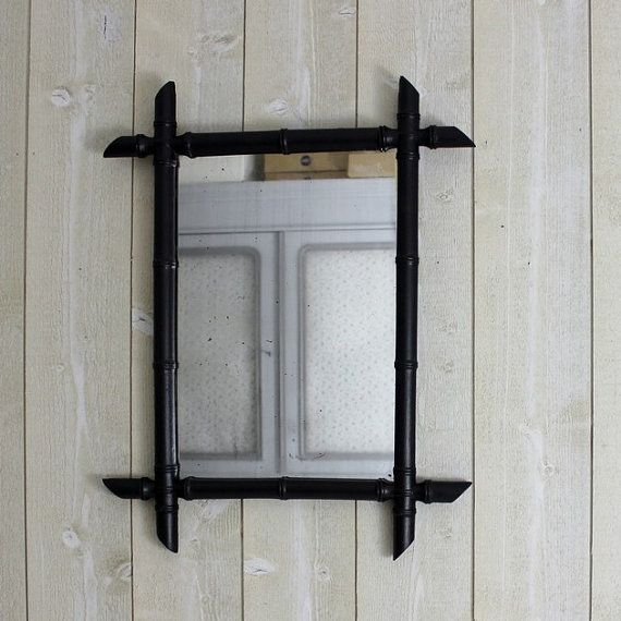 Antique mirror. French mirror. Faux bamboo. Black. Vintage mirror. Faux bamboo…