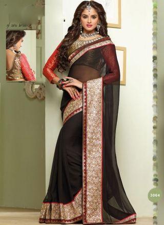 Captivating Black Designer Party Wear Saree http://www.angelnx.com/Sarees