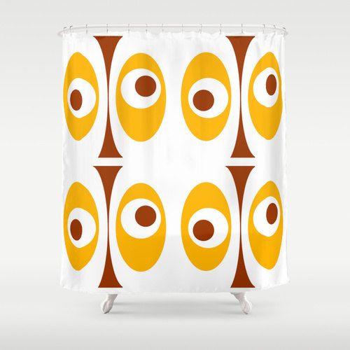 Modern Shower Curtain, Yellow Shower Curtain, Mid Century Modern Shower…