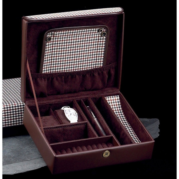 Bey-Berk Menu0027s Jewelry Box in Brown Leather and Two Tone Fabric with Travel Valet & 283 best JEWELRY BOX images on Pinterest | Box art Decorative ... Aboutintivar.Com
