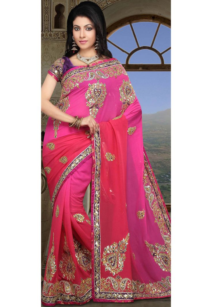 Gota Work Pure Georgette Saree in Pink Ombre - Saree