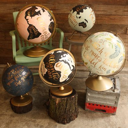 I want all of them! Hand Painted Globes