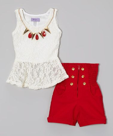 Look what I found on #zulily! White & Red High-Waist Shorts Set - Toddler & Girls by Maya Fashion #zulilyfinds totally glam for a 3yr old... no clue where she'd wear it lol but I love dressing her in mini-adult fashions!