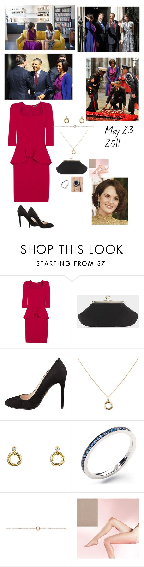 """""""Meeting with Prime Minister Cameron & Samantha Cameron with The President and First Lady at 10th Downing Street"""" by madeleine-duchessofcam ❤ liked on Polyvore featuring Reiss, Alexander McQueen, Prada and John Lewis"""