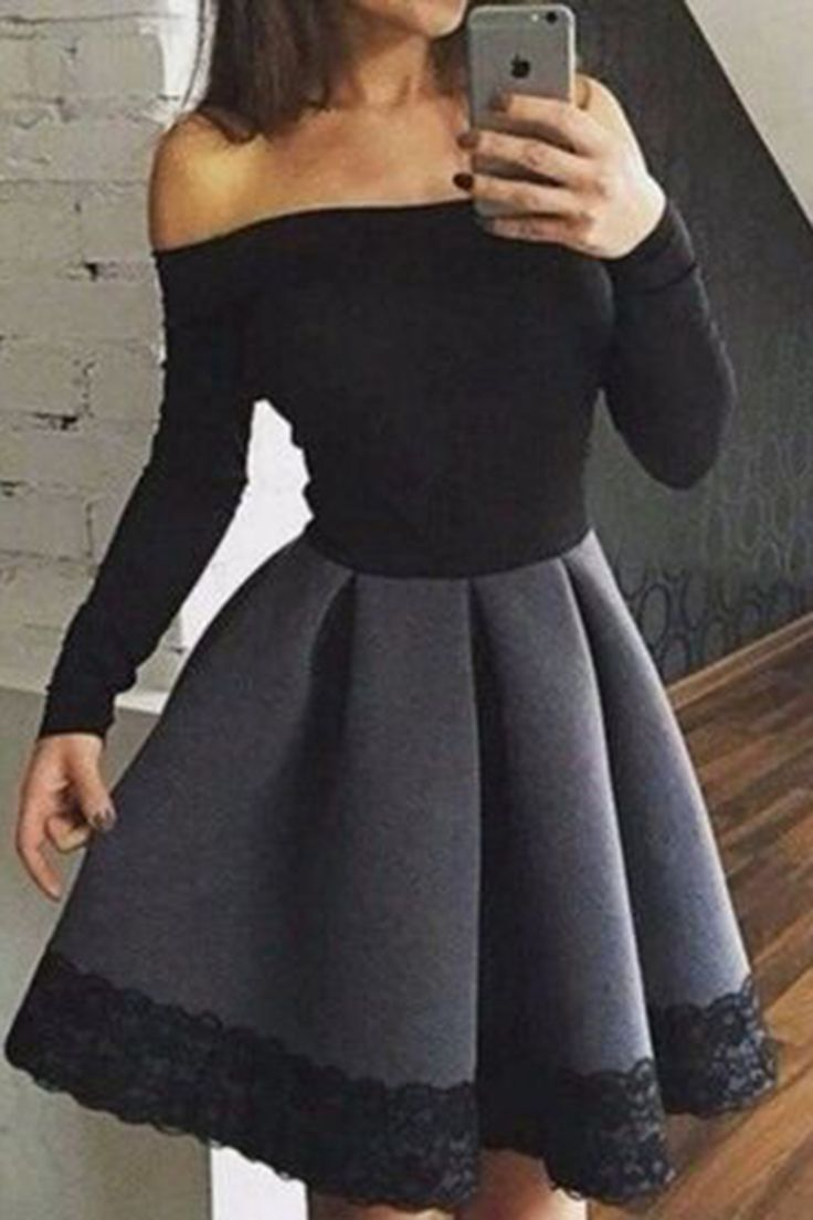 Black cotton long sleeves off-shoulder A-line simple cheap short prom dress ,mini party dresses