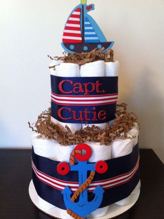 Nautical Diaper Cake, Boy Baby Shower, Nautical, Sailboat, Anchor, Nautical Baby Shower, Baby Shower Centerpiece on Etsy, $25.00