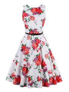 ヴィンテージワンピース ホワイト ノースリーブ ラウンドネック 綿混紡 花柄 レトロ プリント付き フルスカート 女性用