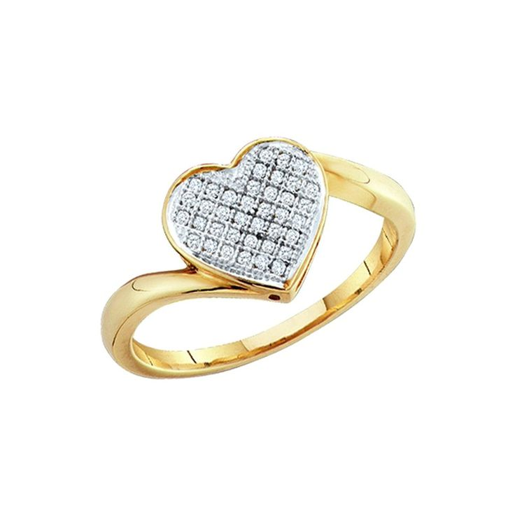 14K Yellow/White Gold 1/20 ct. Diamond Heart Ring * Continue to the product at the image link. (This is an Amazon Affiliate link and I receive a commission for the sales)