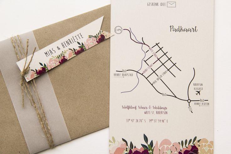 Wedding invitation. Map design. Personalised envelopes.
