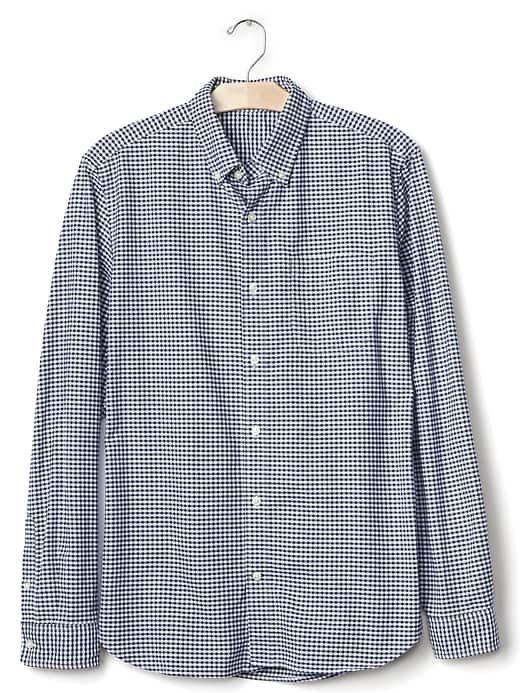 Gap Mens Oxford Micro Gingham Standard Fit Shirt Comet Blue