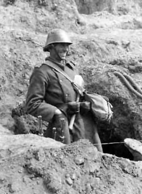 Romanian Infantryman Stands in a fox hole Near Sevastopol. 1942. Probably from 18th Infantry Division.