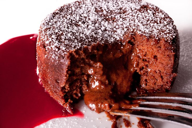 Chocolate lava cake - A dessert recipe for individual soufflés oozing with molten chocolate.