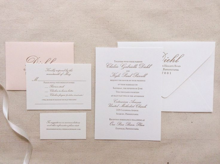 The Azalea Suite - Formal Letterpress Wedding Invitation Suite, Blush, Pink, Gold, White, Calligraphy, Script, Classic, Traditional, Simple by DinglewoodDesign on Etsy https://www.etsy.com/listing/193736255/the-azalea-suite-formal-letterpress