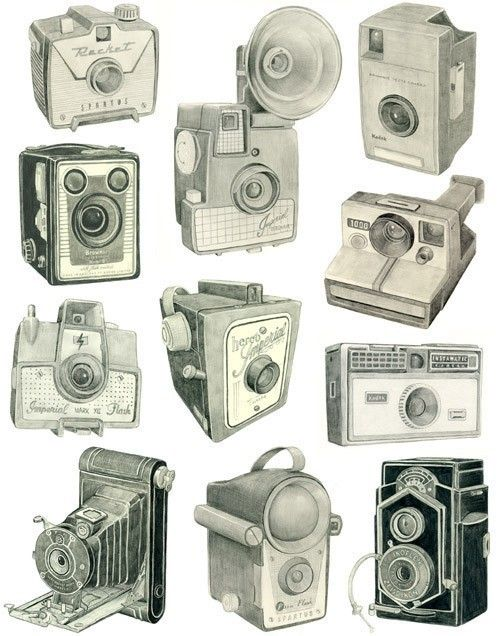 vintage cameras graphite drawings