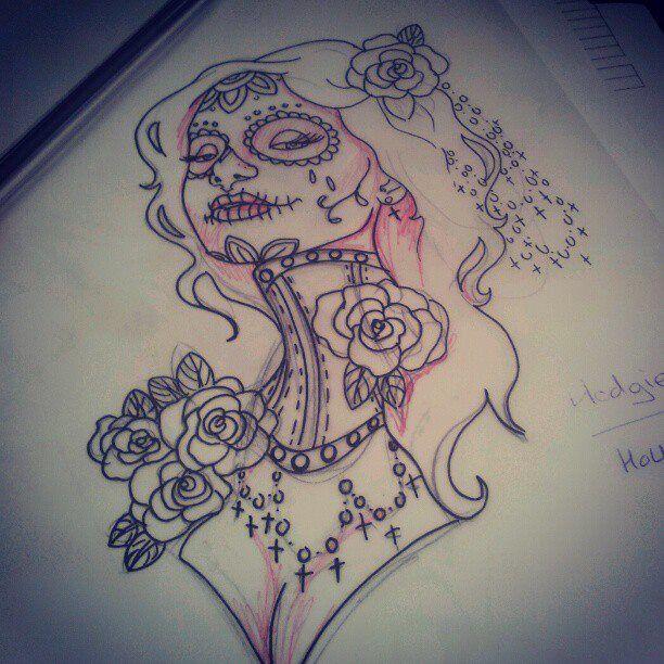 Neck corset sugar skull girl Twisted by heartsandanchors on deviantART
