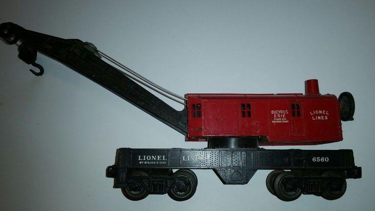 LIONEL POST WAR  RED BUCYRUS ERIE 8 WHEEL CRANE CAR #Lionel
