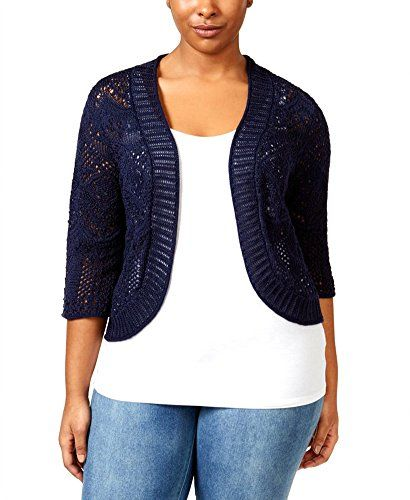 Special Offer: $31.00 amazon.com A perfect finishing touch to your ensemble, this crochet cropped plus size cardigan from JM Collection is a completely chic accent. Open front; no closures Three-quarter sleeves Allover stitched crochet design Cropped silhouette Loose fit Hits above hip...