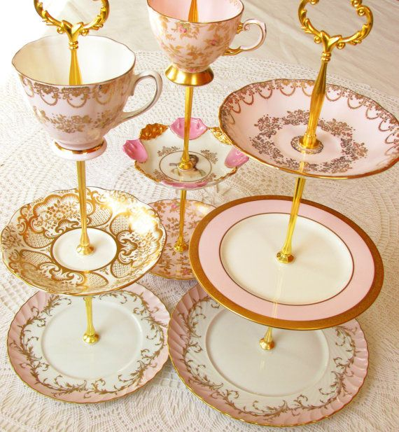 1 High Tea For Alice Pink Amp Gold Vintage China 3 Tier