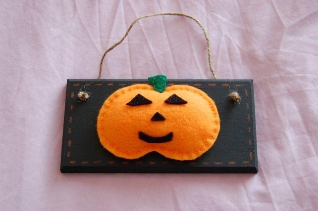 Handmade Halloween Black and Orange Felt  Cute Pumpkin Sign