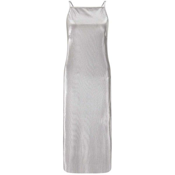Miss Selfridge Silver Pleated Slip Dress ($61) ❤ liked on Polyvore featuring dresses, silver color, pleated dress, camisole dress, silver camisole, cami slip dress and silver dresses
