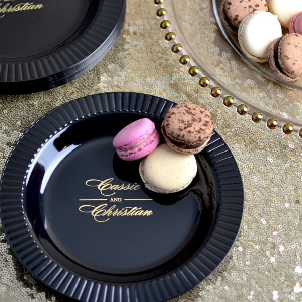 Personalized plastic fluted edge appetizer and cake plates are an upscale alternative to traditional paper plates for any use including serving wedding or birthday cake or as appetizer and finger food plates.
