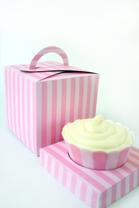 Posh Pink Stripe Printable Cupcake Holder Box by ThePoshEvent, $3.50