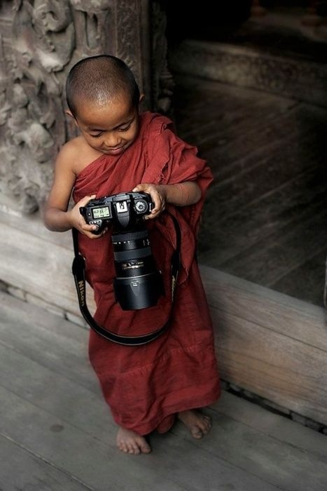 photographer.: Photography 101, Buddhists Monk, Funny Pictures, Modern Photography, Camera, Children, Kids, Big Shots, Make Me Smile