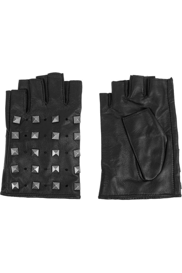 Black leather gloves meaning - Karl Lagerfeld Studded Fingerless Leather Gloves Net A Porter