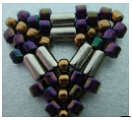 Peyote triangle with bugle beads - a click on the image gives a free pdf download ~ Seed Bead Tutorials
