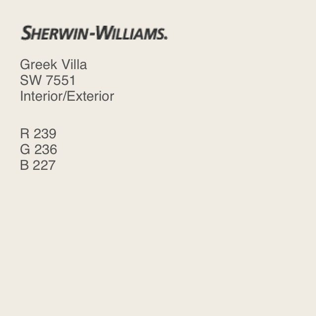 Sherwin Williams 7551 Greek Villa. This is my favorite soft white, it looks beautiful in any light. I have used this both at projects on the coast, and in the hills of Tennessee. It neither reads pink nor yellow, but stays true soft white.- Lindsey Campbell
