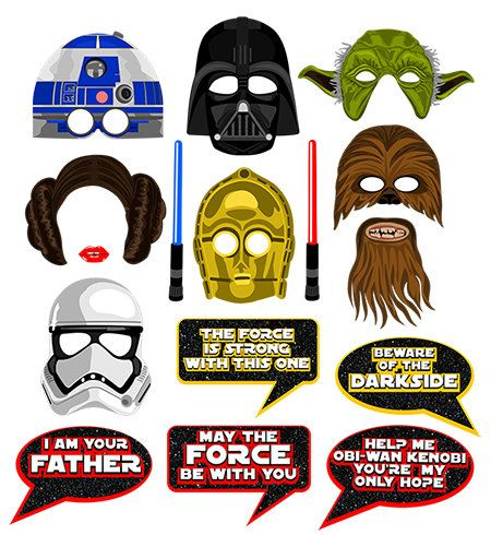 Star Wars inspired digital photo booth props Instant download