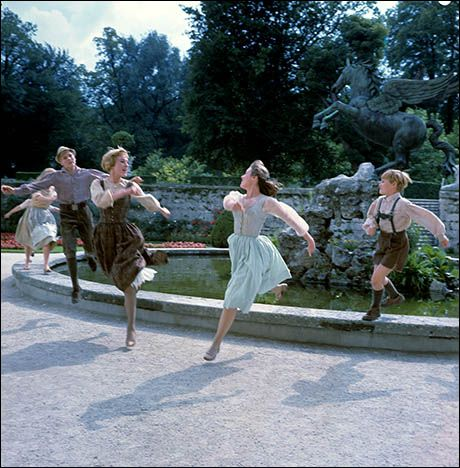 "This is a great shot I've never seen. This is them dancing around the fountain in Mirabell Palace with them all in the air. This is that great scene in ""Do Re Mi"" where they dance around the fountain and then come forward. That's really cool."