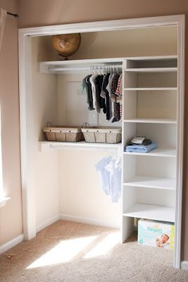 smaller tower of shelves on left with double rods on right