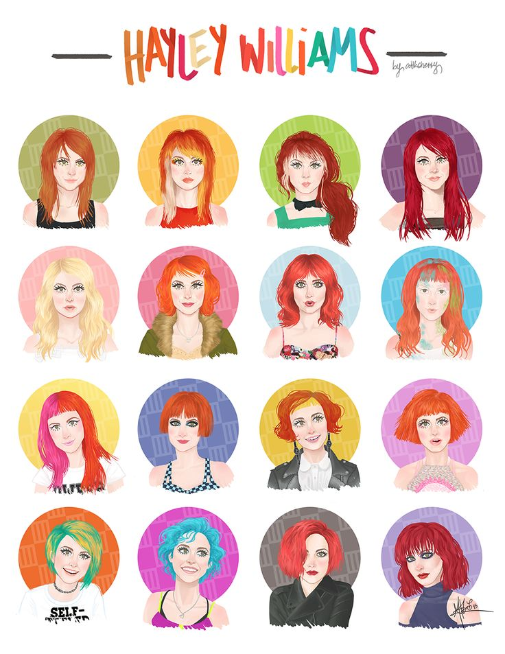 Complete Hayley Hairesses Series. hayley williams, paramore, hairstyles, hair dye, hair color, music video, misery business, aint it fun, timeline, looks, illustration.