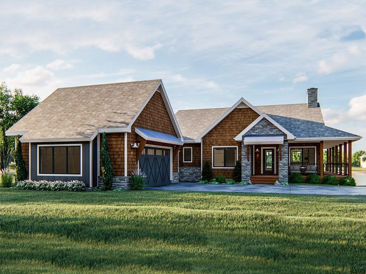 050h 0297 Ranch House Plan Country House Plan Empty Nester House Plans Basement House Plans