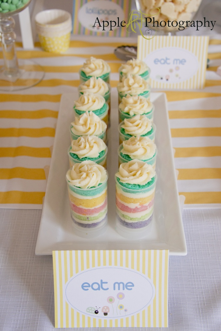 Pastel Rainbow party desert- with something breakfasty?