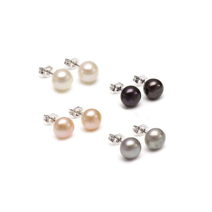 Set 4 cercei Sakura Pearl argint cu perle de cultură 7 mm alb, roz, argintiu, negru