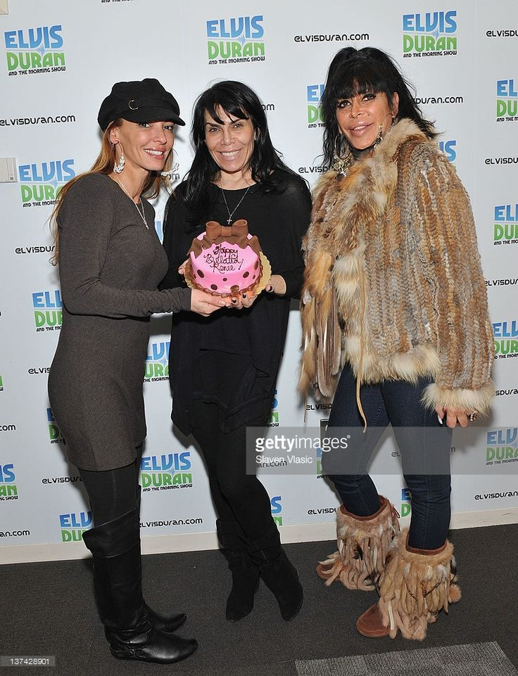 Cast members of reality TV series 'Mob Wives' Renee Graziano, Drita D'Avanzo and Angela 'Big Ang' Raiola (1960-2016) visit 'The Elvis Duran Z100 Morning Show' at Z100 Studio on January 20, 2012 in New York City.
