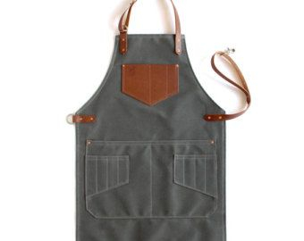 Womens Olive Waxed Canvas Artisan Apron por ArtifactBags en Etsy